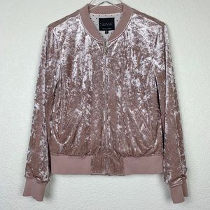 Sanctuary Anthropologie Rose Crushed Velvet Bomber